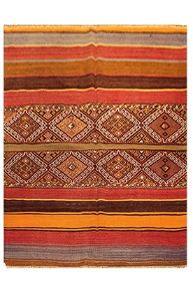 Decorative Handwoven Semi-Old Turkish Kilim-Rug